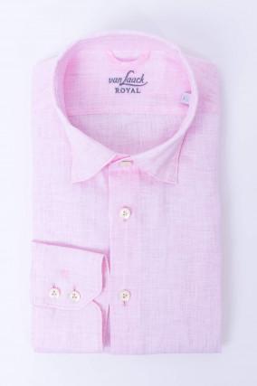 Leinenhemd mit Under-Button-Down in Rosa
