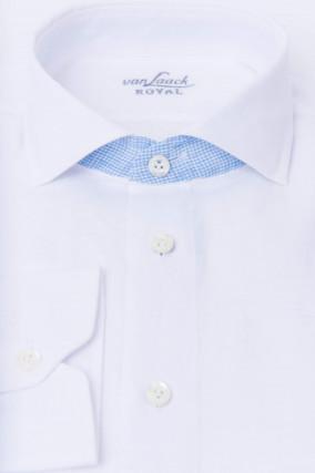 Leinenhemd mit Kontrast-Karo in Weiß