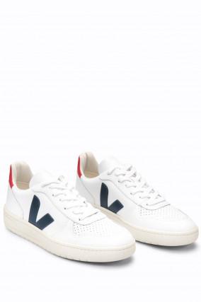 Glattleder-Sneaker V10 in Weiß/Navy/Rot