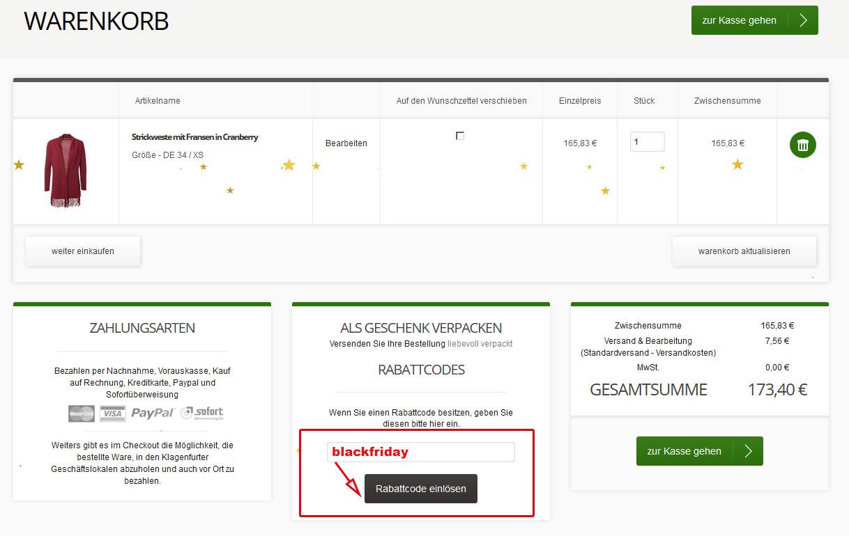 Grüner Online Shop: Black Friday bei Grüner